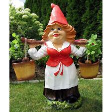 GARTEN ZWERG Helga 76 cm mit 2 Blumentöpfen zum Tragen Deko Figur GNOM Zwergin