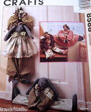Teddy Bear Bunny Pattern Faye Wine Draft Dodger Blocker Sweet Country doll
