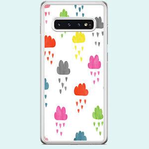 RAINBOW CLOUDS RAIN HEARTS CLEAR RIM PHONE CASE  FITS SAMSUNG GALAXY S RANGE.