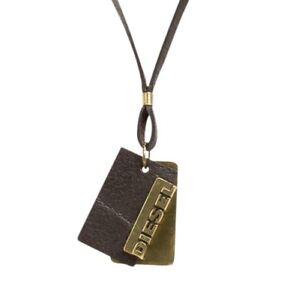 Diesel Herren Leder Halskette Alory braun/gold