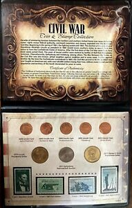 American Coin Treasures Civil War Coin and Stamp Collection Brown Traditional