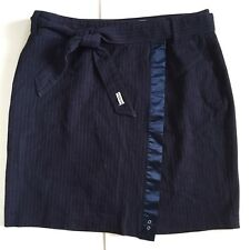 One Star Converse Navy Blue Pin Stripe Wrap Pencil Skirt Siize 8 High Waisted