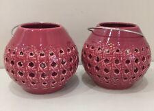 NEW Set of 2 Pottery Barn Pink LATTICE CERAMIC ORB LANTERNS Candle Holders