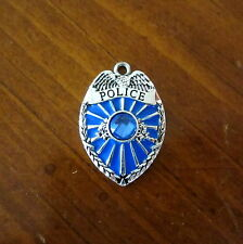 POLICE OFFICER BLUE ENAMEL CRYSTAL BADGE CHARM bead jewelry Policeman Cop