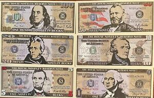 PLAY MONEY (6) BANKNOTE FUNNY MONEY SET $1 $5 $10 $20 $50 $100 FROM A US SELLER