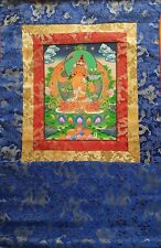 Chenrezig Thangka, hand-painted Buddhist painting with wall hanger, free postage