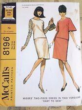 VINTAGE 1966 McCall's 8196 Misses Two Piece Dress Pattern un-cut