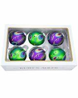 Kurt Adler 80 Mm Peacock Purple Green Glitter Balls 6 Piece
