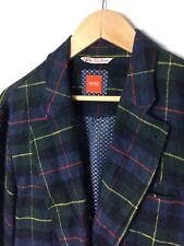 HUGO BOSS 100% Wool Tartan Plaid Blazer Size 40 Regular Orange Label