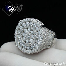 MEN 925 STERLING SILVER LAB DIAMOND GOLD/SILVER ROUND ICED OUT BLING RING*SR90