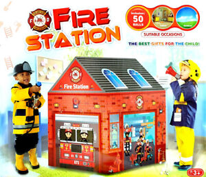 FIRE STATION Feuerwehr KINDER SPIELZELT 93x69x103 cm + 50 Bälle Zelt In-Outdoor