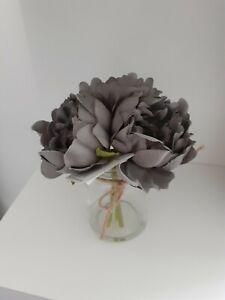Grey Peony Arrangement In Glass Jar Grey Flowers