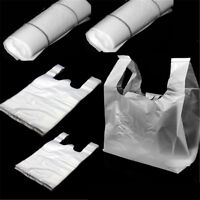 100pcs Carry Out Retail Supermarket Grocery White Plastic Shopping Bags 15*16cm