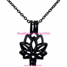 -H52 Black Stainless Necklace Lotus Bead Pearl Cage Locket Pendant Charms