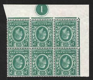 Somaliland 1913. SG60w. 1/2d green Control block x 6. Inverted w/m. MNH. Scarce!