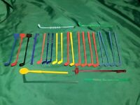 Vintage Golf Club  & Other Sports Swizzle Sticks 25 Piece Lot Man Cave Bar ware