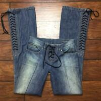 Alexander Mcqueen Jeans Size 38 Euro 2 US Lace Up Boot Cut Front Seam Sandblast