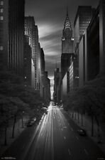 NEW YORK CITY - 42ND STREET SUNSET POSTER - 22x34 NYC BLACK WHITE 15059