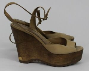 $235 Juicy Couture Tan Leather Wood Ankle Strap Platform Wedge Sandals Sz 8.5 M