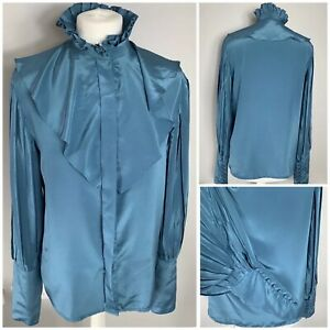 VTG Jacques Vert Teal Blue Silky Satin Ruffle Neck Pleated Sleeve Blouse UK 12