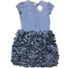 Hanna Andersson Girl's Party Dress 3D Flower Skirt Navy Blue Size 14 160 NWT $98