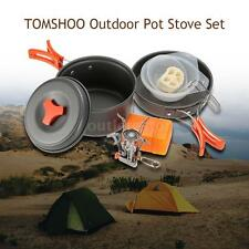 TOMSHOO Outdoor Camp Cookware Mini Stove Backpacking Picnic Pot Pan Set UK E7E4
