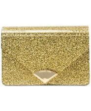 New MICHAEL Kors Barbara Medium Envelope Glitter Gold Clutch Evening Bag Purse