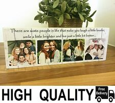 "11x4"" Personalised Wood Photo Quote Block Friendship Best Friend Present Gift"