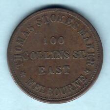 Australia Token. Stokes  - 1862 1d.. Melbourne Vic..  Arms..  aVF