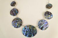 Paua Abalone Shell Mother of Pearl 925 Sterling Silver Pendant Necklace