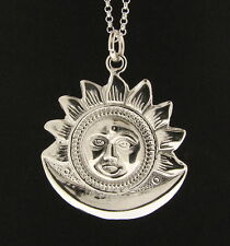925 Sterling Silver Sun & Moon Pendant - Made in England - UK Jewellery