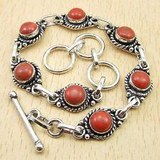 "ORANGE COPPER TURQUOISE Vintage Fashion Bracelet 8"" Silver Plated Jewelry"