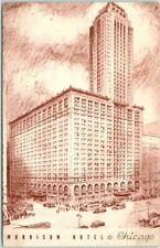 Chicago, IL Postcard MORRISON HOTEL / Artist's Street View c1950s *Back Damage