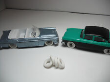 NEW TIRES! POST-WAR DINKY15MM O/D CHUNKY TREAD WHITE TIRES. SET OF 4