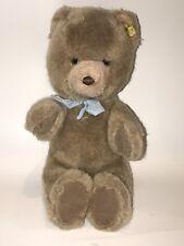 """STEIFF Caramel Original Stuffed Plush Teddy BEAR Blue Bow Germany 13"""" 0205/35"""
