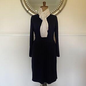 Warm Size 16 18 MONSOON Navy Knit Wool/Cotton Winter Dress Knife Pleat Skirt EUC