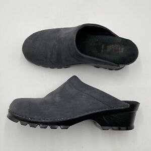White Mountain Leather Suede Clogs Women's Size 10M Blue Slip On