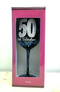 NEW 50 and Fabulous Wine Glass Black Blue & Silver 50th Birthday 15oz
