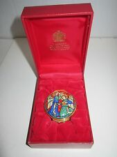 1998 HALCYON DAYS ENAMEL CHRISTMAS BOX - IN THE BOX WITH CERTIFICATE - MINT COND