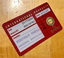 Omega Certificate Guarantee CARD Speedmaster Seamaster Constellation Moonwatch