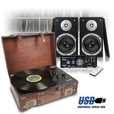 Leather Style LP Record Player, Hi-Fi Stereo Speakers and Amplifier USB/FM/SD
