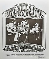 Crosby Stills Nash & Young Concert Poster 1970 Signed Randy Tuten White Variant