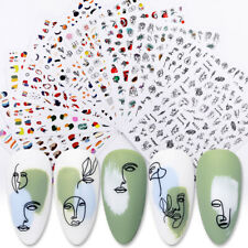 3D Nail Stickers Decals Summer Graffiti Geometric Lines Nail Art Decoration