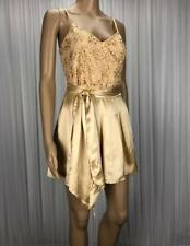 ** FOREVER NEW ** BNWT * Sz 8 Gold Lace Bead Silk Romper Playsuit - (B223)