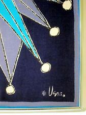 Vintage VERA NEUMANN framed art GRAPHIC SCARF blue teal purple STARBURST