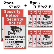 10x CCTV Video Surveillance Security Camera 24 Hour Warning Sticker Decal Signs