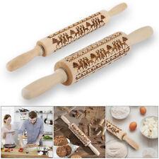 Christmas Wooden Rolling Pin Embossing engraved dough roller cookies Elk pattern