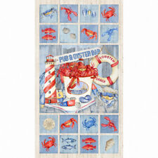 "Lobster Crab Seafood Nautical Scenes Fabric Northcott Seafood Shack 24"" Panel"