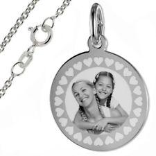 pers. Fotogravur mit Herz Umrandung-runde Gravurplatte-Silber925- Inkl. Kette