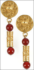 "Pre Columbian StyleTolima Roller Seal Earrings with Carnelian Beads 0.6"" x 1.75"""
